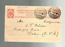 1911 Moscow RUSSIA Postal Stationery Postcard Cover to Boise Idaho  USA