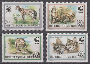 Burundi 1992 #681-84 WWF Felis Serval (Set of 4) - MNH