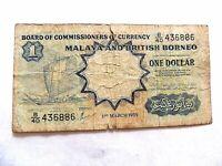 1959 Malaya & British Borneo One (1) Dollar Note Lot B