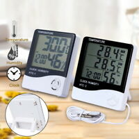 Digital LCD Thermometer Hygrometer Humidity Meter Rooms Indoor Temperature Clock