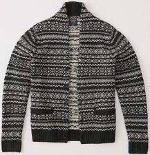 NWT Mens Abercrombie & Fitch Black Fairisle Patterned Shawl Cardigan Sweater XXL