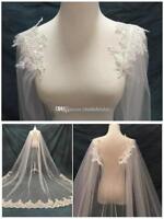 3M White Ivory Lace Applique Tulle Bridal Wedding Veils Cloak Shrug Wraps Custom
