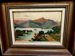 Crude/Naive Unknown Artist/Unsigned Well Framed Oil on Board of a European Scene