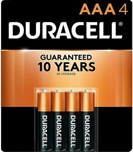 Duracell 4pk AAA Batteries Alkaline Batteries Long Lasting, All-purpose