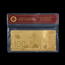 WR Canada 100 Dollars Bill 2011 Polymer Plastic Note 24K Gold Foil Banknote +COA