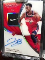 2018-19 Immaculate #3/3 Troy Brown Jr. Nike Tag Rookie Patch Auto RPA Swoosh