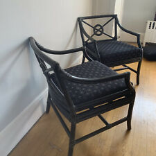 Pair: McGuire San Francisco Bamboo Arm Chairs Target Back Black Laquer
