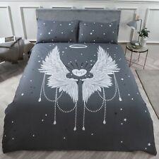 Rapport Angel Wings Double Glitter Stars Duvet Quilt Cover Bedding Set Grey
