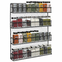4 Tier Black Country Rustic Wall Mounted Spice Rack Storage Organizer