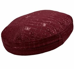 pd1006r Deep Red Round Faux Crocodile Glossy Leather Cushion Cover Custom Size