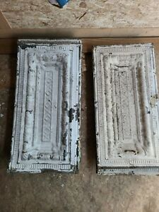 """Lot of 16 Antique Original 24x12"""" Metal Tin Ceiling Tile Salvaged Reclaim"""