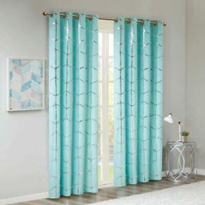 "Luxury Aqua Blue Geometric Metallic Silver BLACKOUT Window Panel- 50x63"""