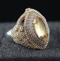 925 Sterling Silver Handmade Gemstone Turkish Quartz Ladies Ring Size 7-9