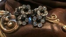 Adorable Rhinestones Flower Earrings , Vintage New England Glass Works Jewelry
