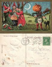 ANTIQUE 1911 HALLOWEEN POSTCARD - JACK-O-LANTERN & WITCHES