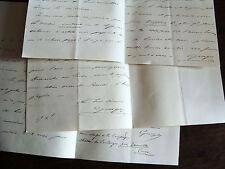 1872 lot de 3 lettres du Comte d'Arjuzon à son ami amedée barbié du Bocage