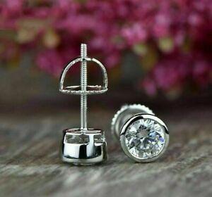3.00ct Brilliant Cut Moissanite Bezel stud Screw Back Earrings 14k White Gold Fn