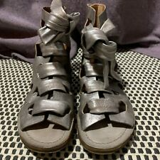 A.S.98 AS 98 AS98 Ankle Tie Silver leather gladiator Free People sandals 40