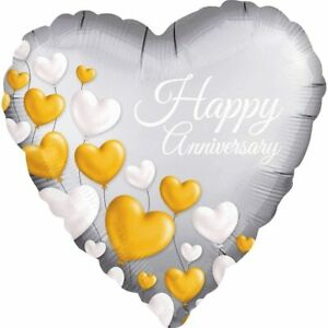 """ANAGRAM - HAPPY ANNIVERSARY FOIL BALLOON - 18"""" - HELIUM QUALITY - HEART SHAPED"""