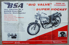 BSA MOTORCYCLE ORIGINAL DEALERSHIP  POSTER BIG VALVE SUPER ROCKET A10 1959 1960
