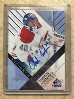 16-17 UD SPGU SP Game Used Authentic RC Rookie Blue Auto CHARLIE LINDGREN