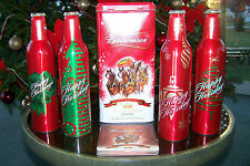 BUDWEISER CHRISTMAS BEER TAP HANDLES 4-PAK WITH CONTAINER
