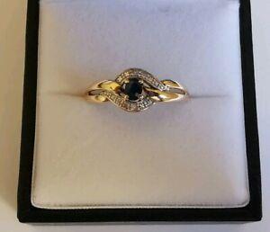 Blue oval cut SAPPHIRE diamond accent RING 9ct GOLD classic knot twist design