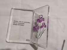 Saying, Lucite With Flowers, Decorative, Happy Birthday , Desk Top Plaque