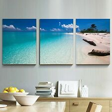 Framed Wall Art Canvas 3 Panels Print Blue Sea Beach Painting Artwork Home Decor
