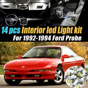 14Pc Car Interior LED Super White Light Bulb Kit for 1992-1994 Ford Probe