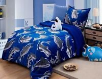 SHARK ATTACK KIDS BOYS BLANKET COMFORTER WITH SHERPA VERY SOFTY /WARM 3PC TWIN