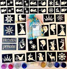 GLITTER TATTOO KIT FROZEN 50 stencils 8 glitters glue ELsa Olaf Anna made in UK