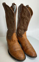 TONY LAMA Brown Smooth Ostrich Leather Cowboy Western Boots Mens Size 9.5 EEE