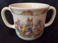 """Royal Doulton Bunnykins Hug a Mug 2 Handle """"Play with Dolls"""" NEW with Box"""