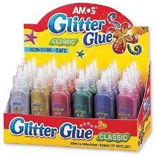 Brand NEW Amos 24 x 22ml BOTTIGLIE GLITTER COLLA NON TOSSICI colori assortiti