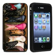 Rubber Cowboy Boots For Apple iPhone 4 or 4s Case / Cover All Carriers