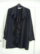 NWOT Smokey black cotton-feel waterfall frill front blouse  label 6/8 like 10/12