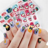 24Pcs False Nail Tips Children Kids Fake Press on Nails Art DIY Manicure Decor