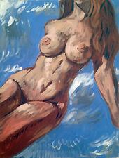"Nude Female Figure Impressionist Original Acrylic Painting, 18""x24"" Signed"
