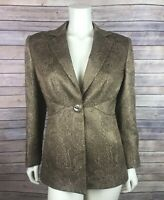 Carlisle Jacket Size 4 Women's Brown Gold Metallic Printed Silk Textured Blazer