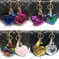 Rainbow Sequins Heart Shape Pendant Keyring Women Handbag Hanging Decor Keychain