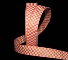 "5 Yards Orange White Checked Gingham Woven Jacquard Ribbon 5/8""W"