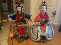 """Vintage Set of CHINESE OPERA HAND PUPPET DOLLS  FOLK ART with Stands 13"""" Each"""