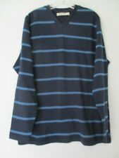 Old Navy Men's Size Large 100% Cotton Blue Striped Long Sleeve V-Neck T-Shirt