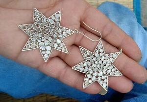 925 Sterling Silver Woman Jewelry Natural Rose cut Slice Polki Diamond Earring