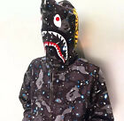 Hot BAPE MEN'S A BATHING APE SPACE CAMO SHARK HOODIE FULL ZIP Sweater COAT