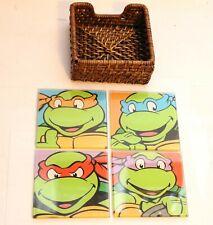 Set Of 4 TMNT Glass Coasters Teenage Mutant Ninja Turtles Michelangelo Leonardo