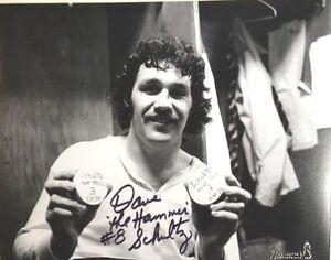 Philadelphia Flyers Dave The Hammer Schultz Autographed Photo Hat Trick Goals