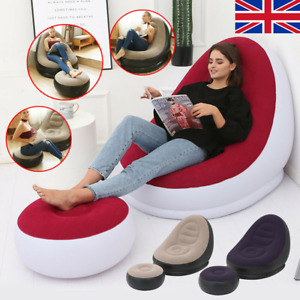 Deluxe Inflatable Lounger Chair Sofa Blow Up Foot stool Air Seat Relax Couch