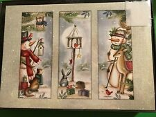 New Christmas 18/pk Snowman deer owl bunny fox Cards dec env/inside glitter box